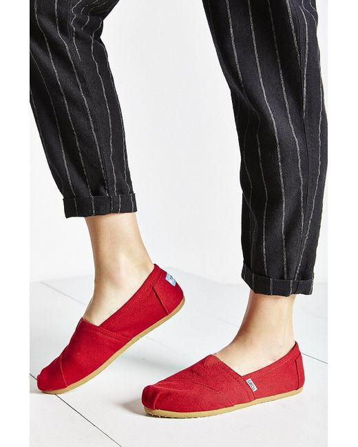 TOMS | Red Canvas Women's Classics Slip-on Shoe | Lyst
