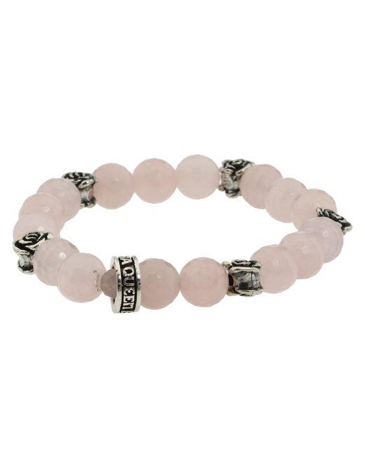 King Baby Studio | Pink 10mm Rose Quartz Four Roses Bracelet | Lyst