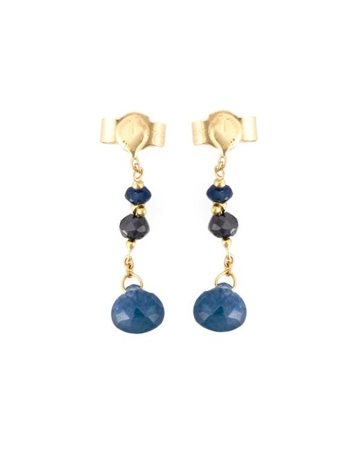 Natasha Collis | Black Diamond And Blue Sapphire Drop Earrings | Lyst