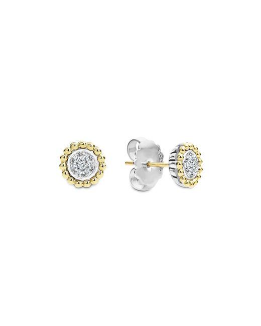 Lagos | Metallic 18k Gold And Diamond Caviar Stud Earrings | Lyst