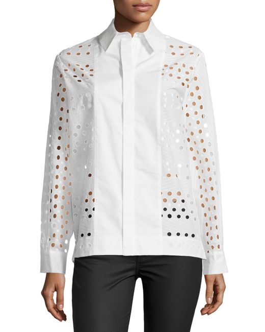 See by chlo long sleeve eyelet dress shirt in white for Mens eyelet collar dress shirts