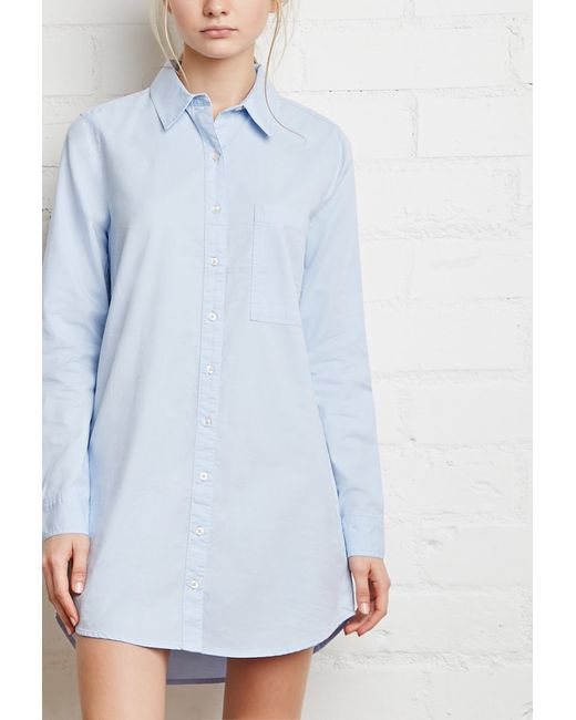 Forever 21   Blue Pocket Shirt Dress   Lyst