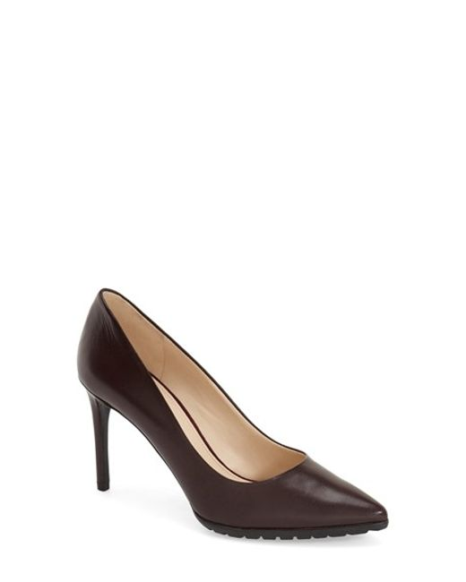Nine west Issax Pointed-Toe Leather Pumps in Purple (WINE ...