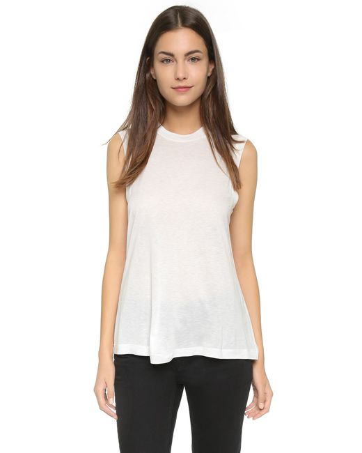 T By Alexander Wang | White Classic High Neck Flared Tank | Lyst