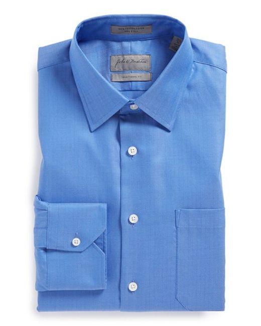 John W. Nordstromu00ae John W. Nordstrom Traditional Fit Herringbone Dress Shirt In Blue For Men ...
