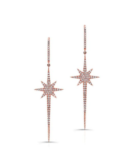 Anne Sisteron | Pink 14kt Rose Gold Diamond Star Wand Earrings | Lyst