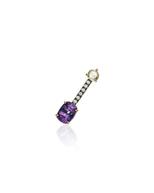 Jemma Wynne   Single Bar Stud Earring With Cushion Cut Dark Purple Sapphire   Lyst