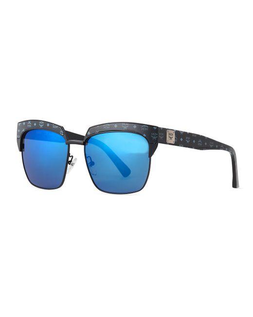 Mcm Printed Square Mirrored Sunglasses in Black