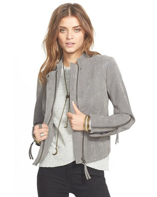 Free People | Gray Vegan Leather Jacket | Lyst