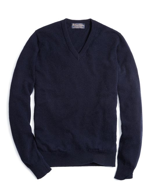 Brooks Brothers | Blue Cashmere V-neck Sweater-basic Colors for Men | Lyst