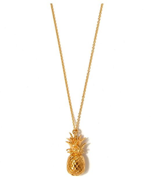Alex Monroe Bumblebee Necklace Silver: Alex Monroe Gold-plated Pineapple Necklace In Gold
