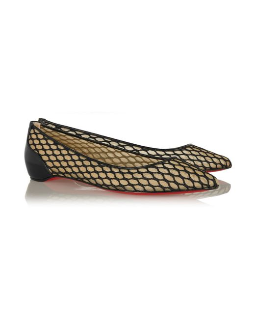Christian louboutin Pigaresille Leather-Trimmed Mesh Point-Toe ...