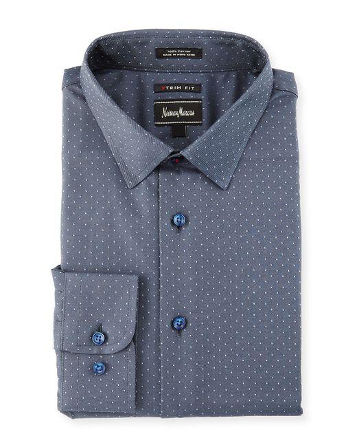 Neiman marcus extra trim fit pin dot dress shirt in gray for Extra trim fit dress shirt