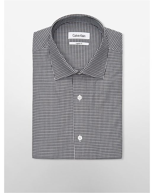 Calvin klein regular fit black white check dress shirt for Black and white check mens shirt