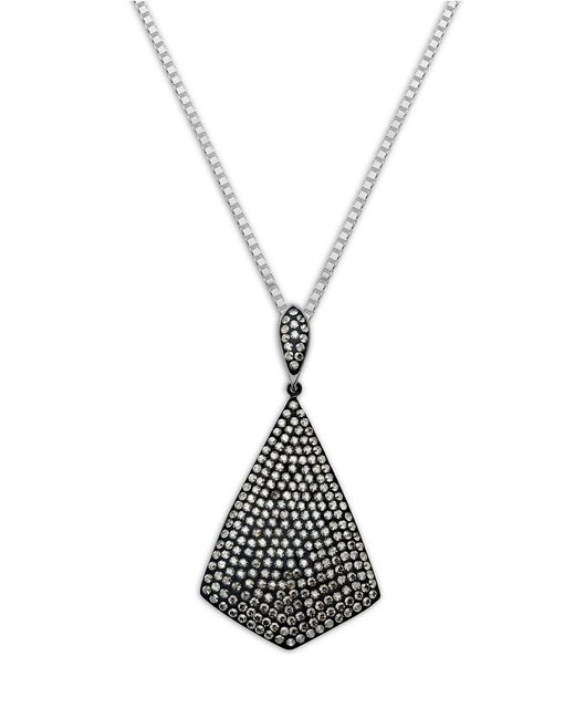 Lord & Taylor | Metallic Sterling Silver Necklace With Black Rhodium Crystal Pendant | Lyst