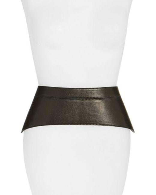 raina peplum leather corset belt in black lyst