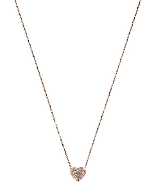 Michael Kors | Metallic Pavé Rose Gold-tone Heart Charm Necklace | Lyst
