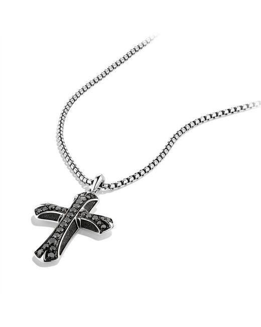 David Yurman | Armory Large Cross with Black Diamonds On Chain for Men | Lyst