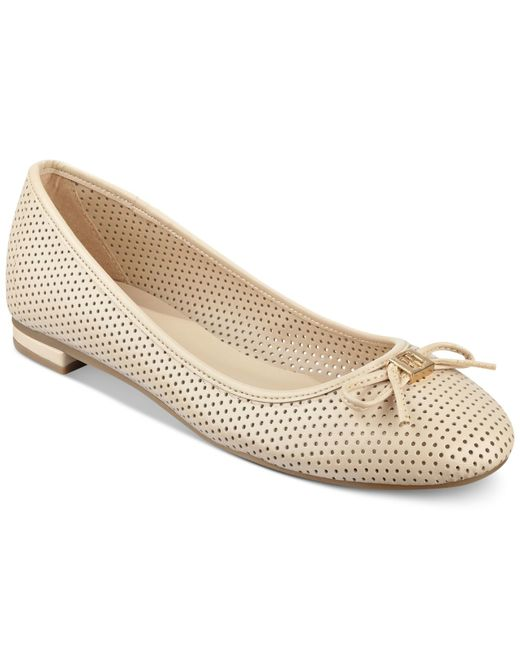 tommy hilfiger mirella perforated ballet flats in beige. Black Bedroom Furniture Sets. Home Design Ideas