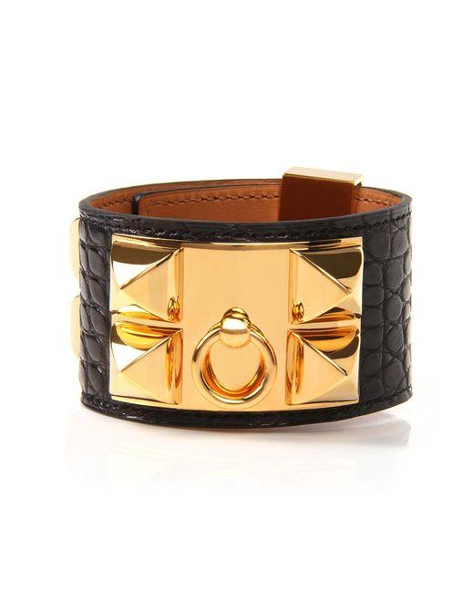 Hermès | Black Matte Alligator Collier De Chien Bracelet | Lyst