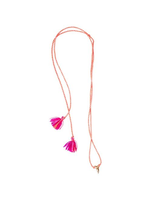 Dezso by Sara Beltran | Pink Shark Tooth Petite Tassel Mexican Gold Necklace | Lyst