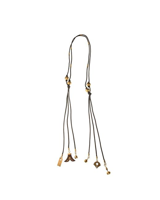 Chloé - Black Janis Cord And Charm Necklace - Lyst
