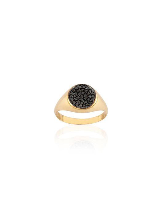 Kismet by Milka - Metallic Geometry Boys Circle Black Diamond Ring - Lyst
