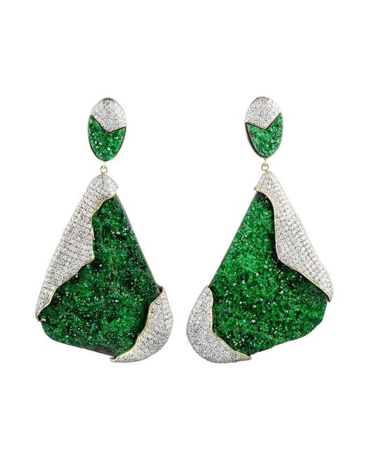 Kara Ross | Green Petra One-of-a-kind Earrings In Uvarovite And Pave Diamonds | Lyst