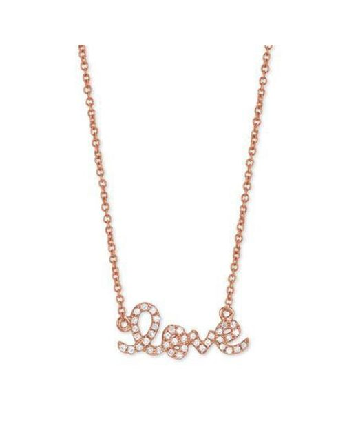 Sydney Evan | Pink Rose Gold Love Necklace | Lyst