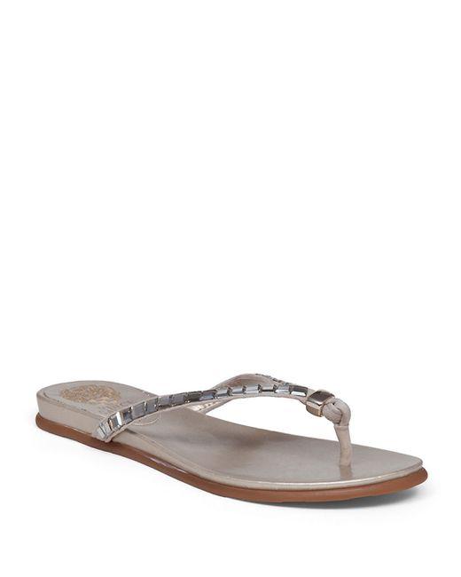 Vince Camuto Ellita Leather Flip Flops In Silver Light -8524