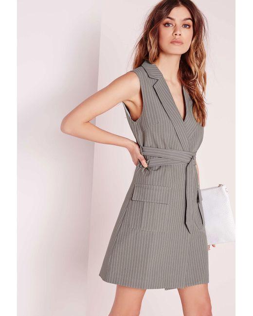 missguided pin stripe wrap belt blazer dress grey in gray