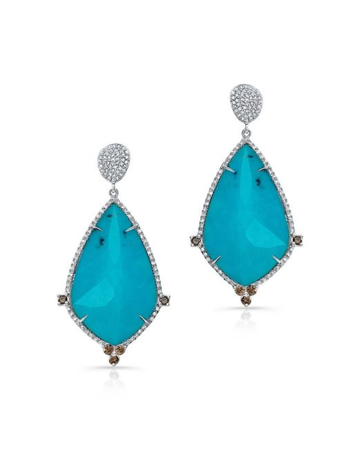 Anne Sisteron | Metallic 14kt White Gold Turquoise And White Topaz Diamond Leaf Earrings | Lyst