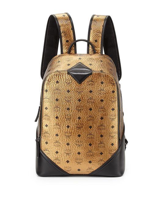mcm duke visetos backpack in gold for men