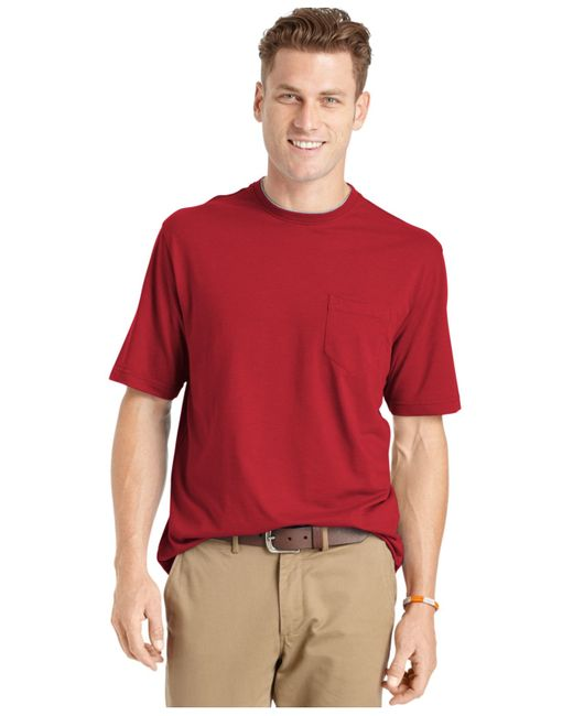 Izod men 39 s big and tall solid double layer jersey pocket t for Big and tall quick dry shirts