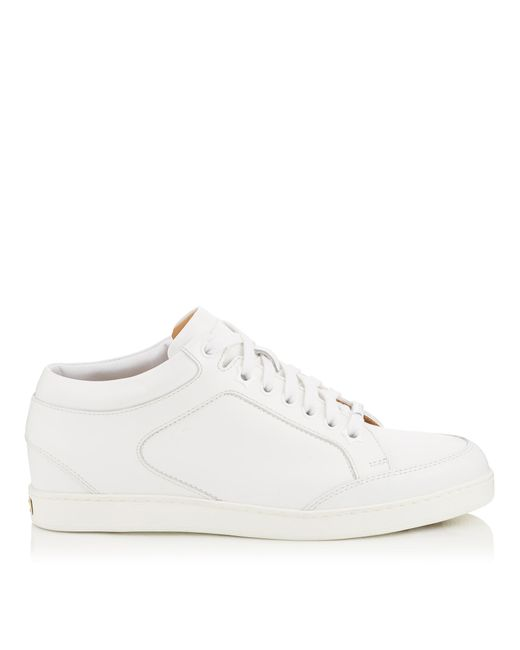 Jimmy Choo | Miami White Calf Leather Low Top Trainers | Lyst