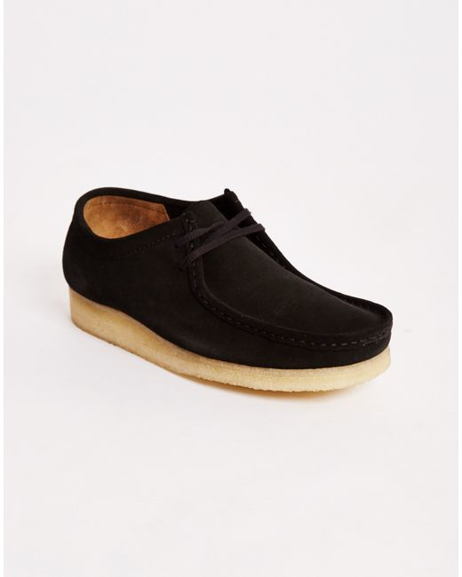 Clarks | Black Suede Wallabee Boots for Men | Lyst