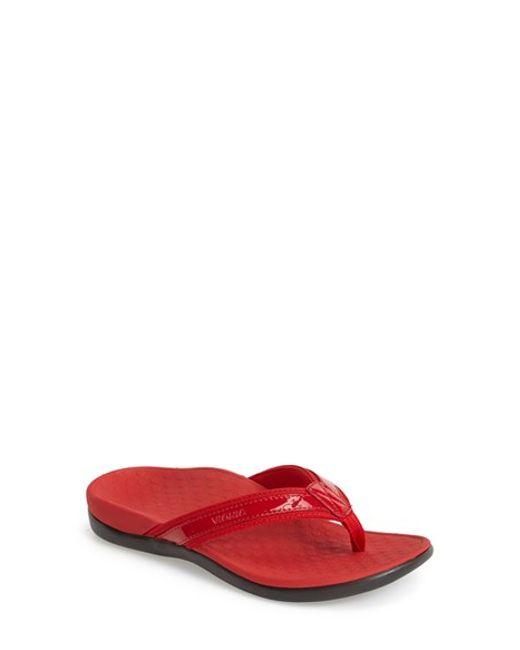 Vionic Tide Ii Flip-Flops In Red  Lyst-5213