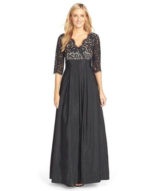 Eliza J | Black Lace & Faille A-line Gown | Lyst