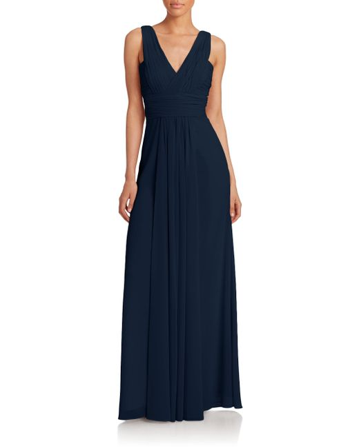 Monique Lhuillier Bridesmaids | Blue Pleated Chiffon V-neck Gown | Lyst