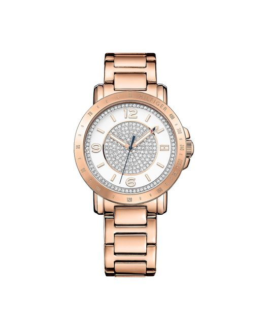 tommy hilfiger rose gold crystal bracelet watch in pink rose gold lyst. Black Bedroom Furniture Sets. Home Design Ideas