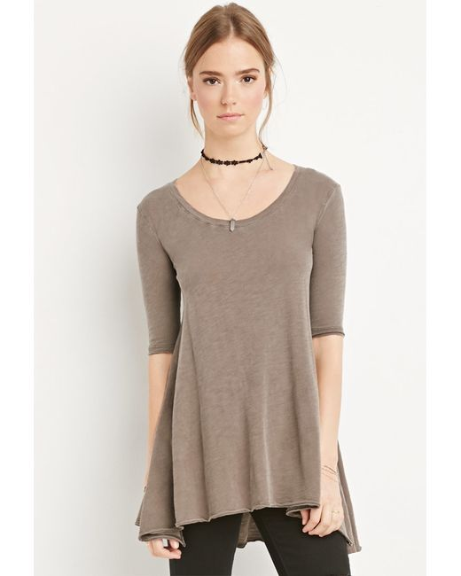Forever 21 | Brown Raw-cut Longline Trapeze Tee You've Been Added To The Waitlist | Lyst