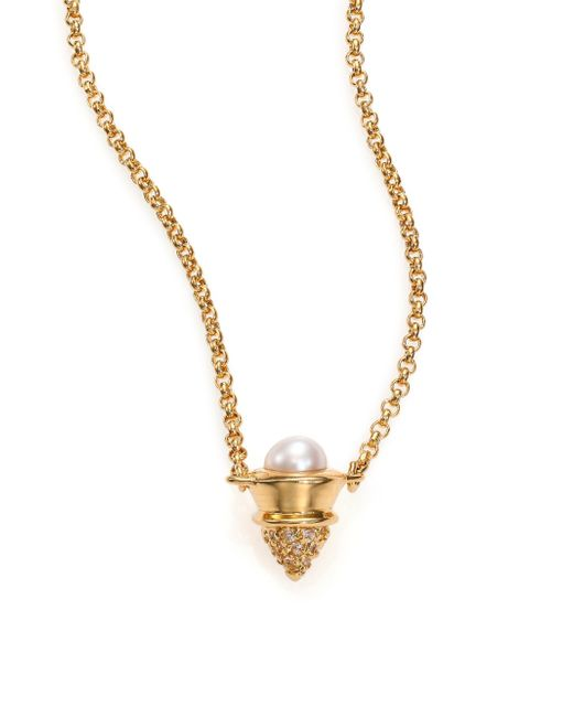 Eddie Borgo | Metallic 4mm White Mabe Pearl & Pave Crystal Cone Pendant Necklace | Lyst
