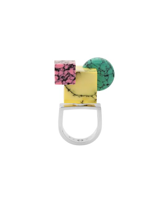 Eshvi | Multicolor Back To School Marble Shapes Ring | Lyst