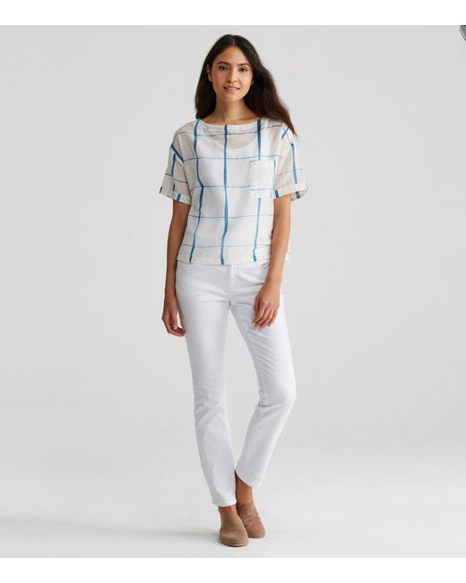 Eileen Fisher   Blue Hand-painted Organic Cotton Silk Top   Lyst