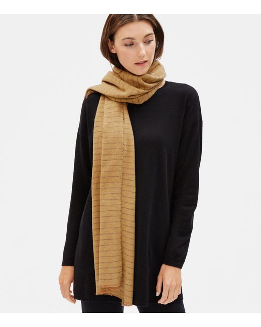 Eileen Fisher Multicolor Brushed Recycled Cotton Herringbone Scarf