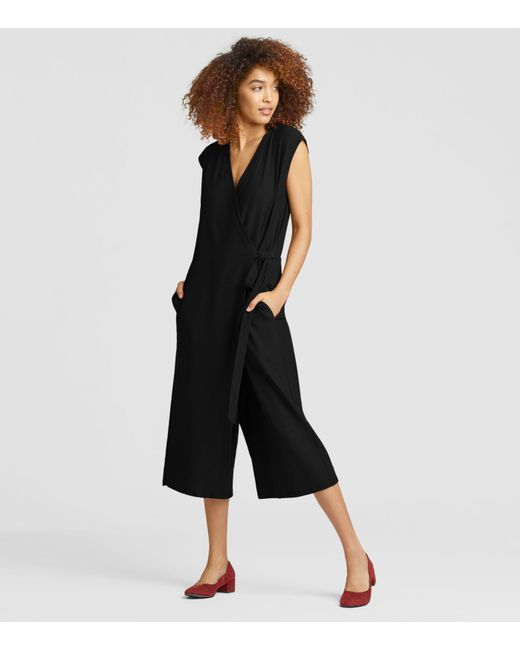 Eileen Fisher - Black Lightweight Washable Stretch Crepe Jumpsuit - Lyst
