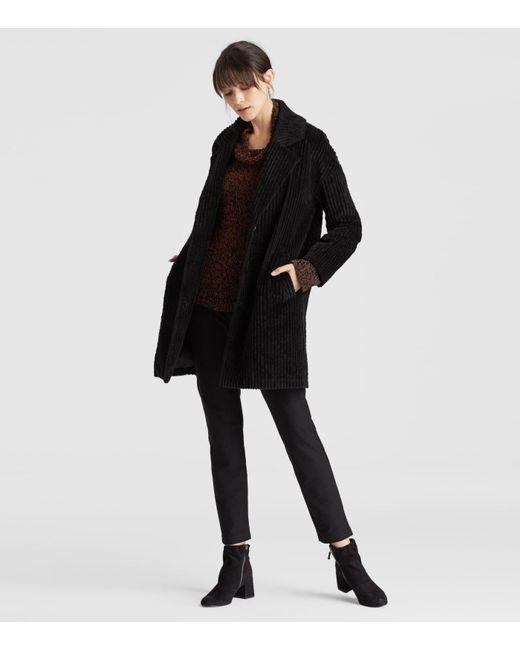 Eileen Fisher - Black Organic Cotton Corduroy Coat - Lyst