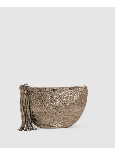 Eileen Fisher - Metallic Crackle Coated Leather Tassel Clutch - Lyst