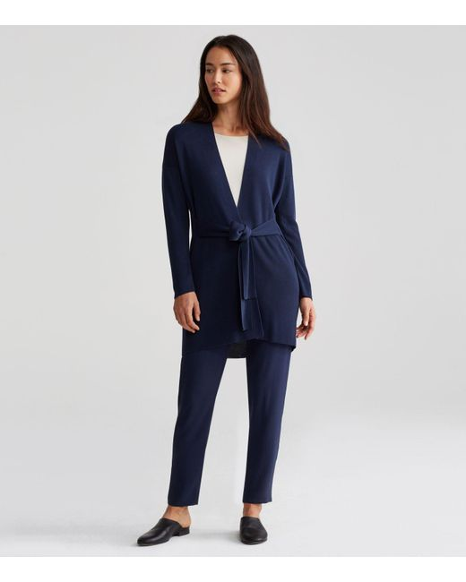efb0ea28c Lyst - Eileen Fisher Sleek Belted Long Cardigan in Blue