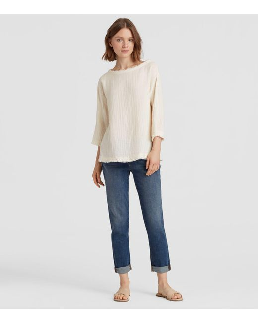 Eileen Fisher - Multicolor Organic Cotton Gauze Box-top - Lyst